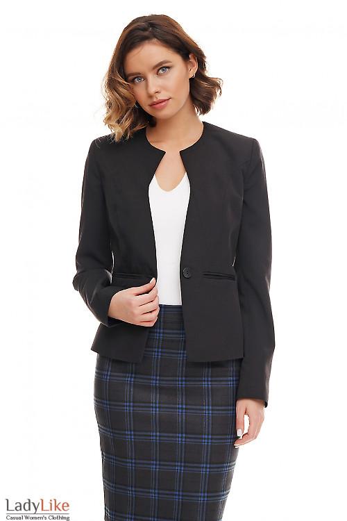 Жакет чёрный без воротника со вставками Деловая женская одежда фото