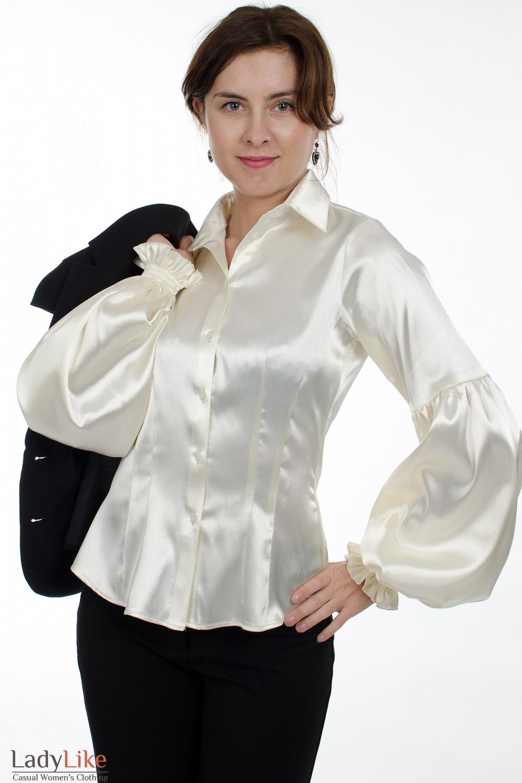 90ffbc41de5 Блузка белая с пышным рукавом. Артикул  338w. Деловая женская одежда