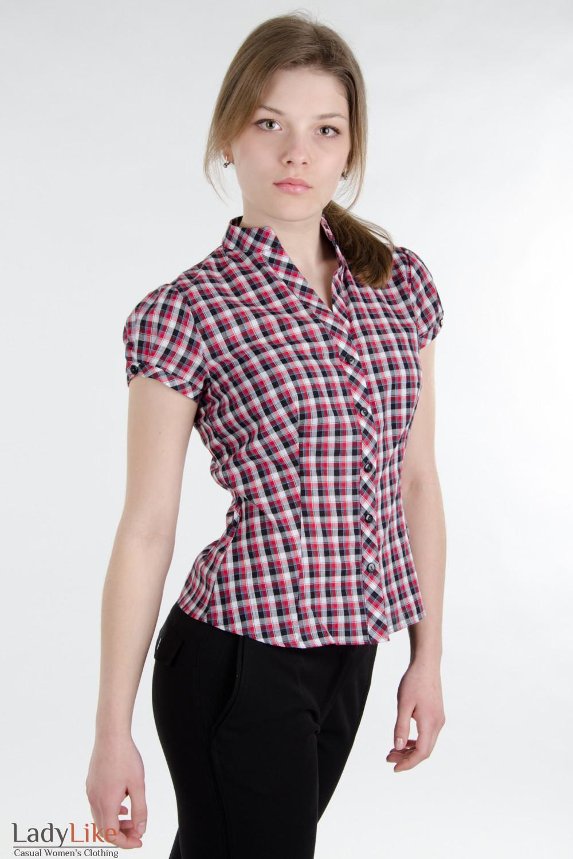 507065d0060 Блузка красная в клетку с поясом. — купить в интернет-магазине ...