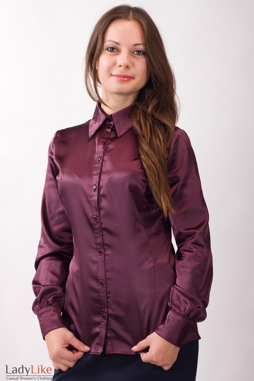df2ff4c5d5d Блузка атласная бордовая — купить в интернет-магазине