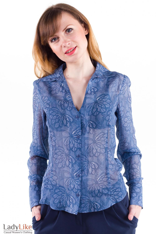 e4b3862ecfd Блузка синяя из шифона — купить в интернет-магазине