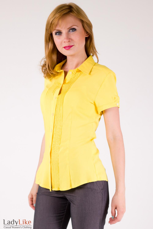 0d1050af754 Блузка с защипами желтая — купить в интернет-магазине