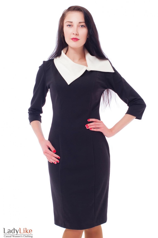 08e56d8c1b1 Платье-футляр черное с белым воротником — купить в интернет-магазине ...