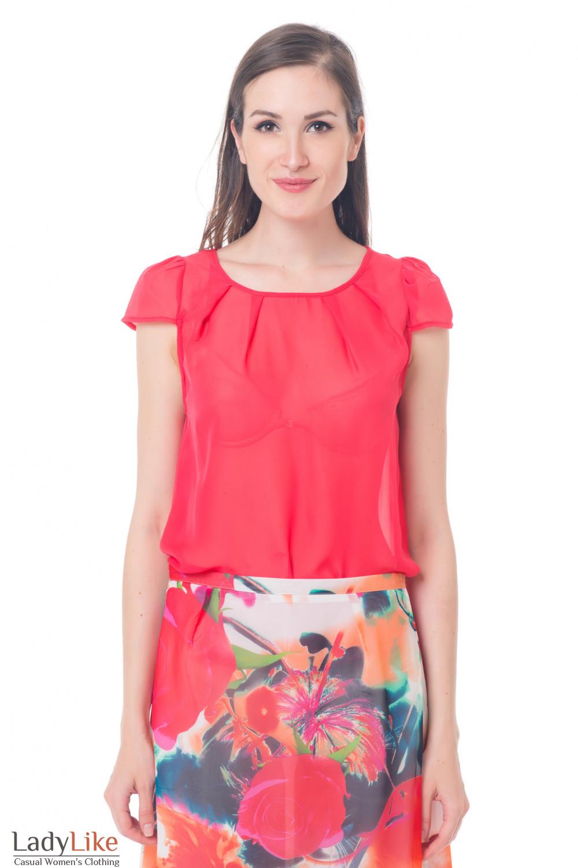 e9633363822 Блузка коралловая с рукавчиком — купить в интернет-магазине ...