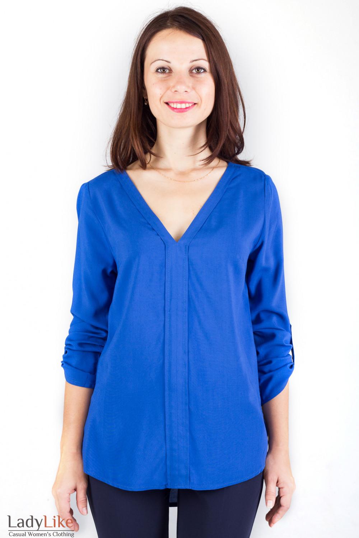 16fc7834023 Блузка с удлиненной спинкой синяя — купить в интернет-магазине ...