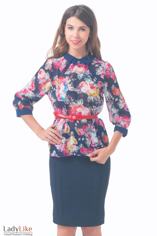 158045404d6 Блузка синяя в розы — купить в интернет-магазине