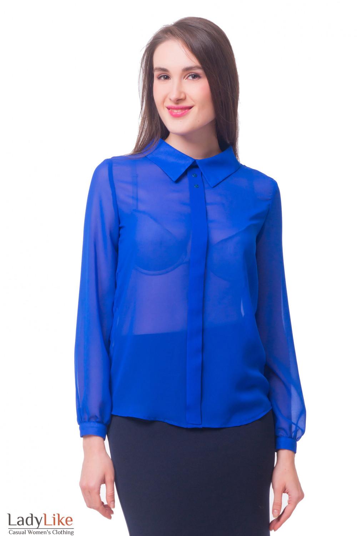 97fb099d87f Блузка ярко-синяя с бантовой складочкой — купить в интернет-магазине ...