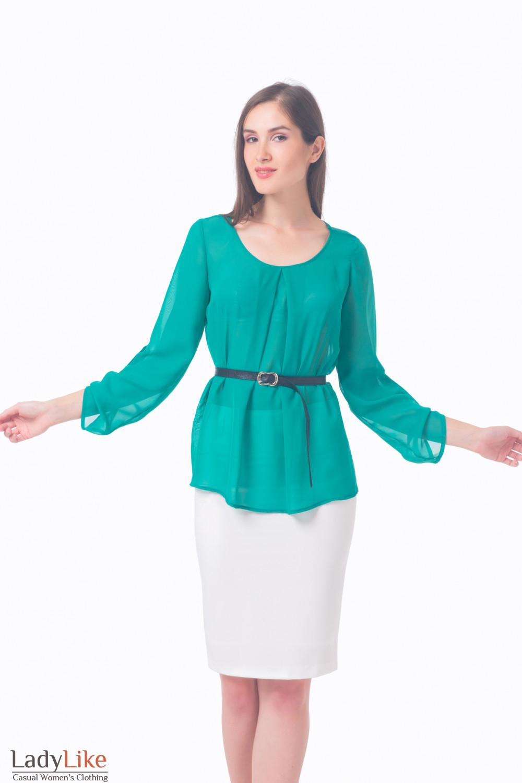 e22f2277360 Блузка зеленая с защипами — купить в интернет-магазине