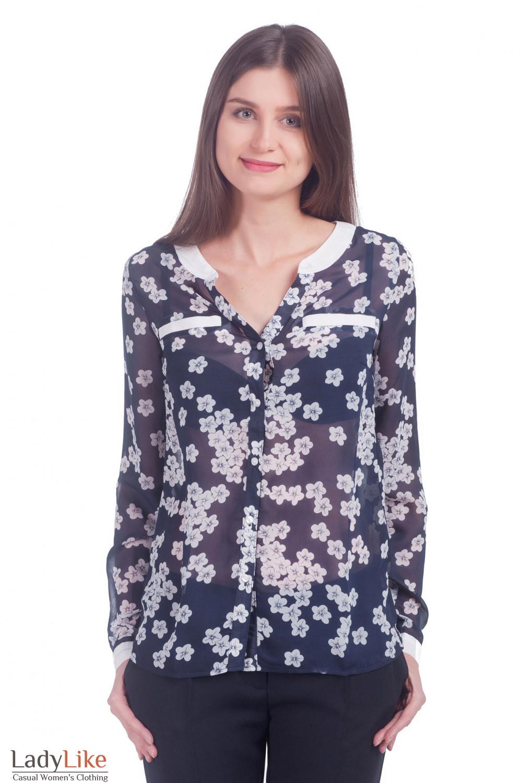 c2b6a49e7ca Блузка из шифона синяя в цветы — купить в интернет-магазине ...