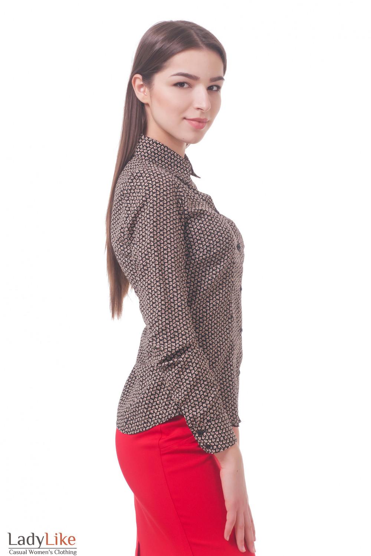2e2eda4bce0 Блузка коричневая в мелкий цветочек — купить в интернет-магазине ...