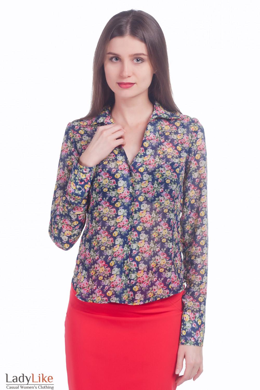 61d5105c295 Блузка синяя в розы из шифона — купить в интернет-магазине