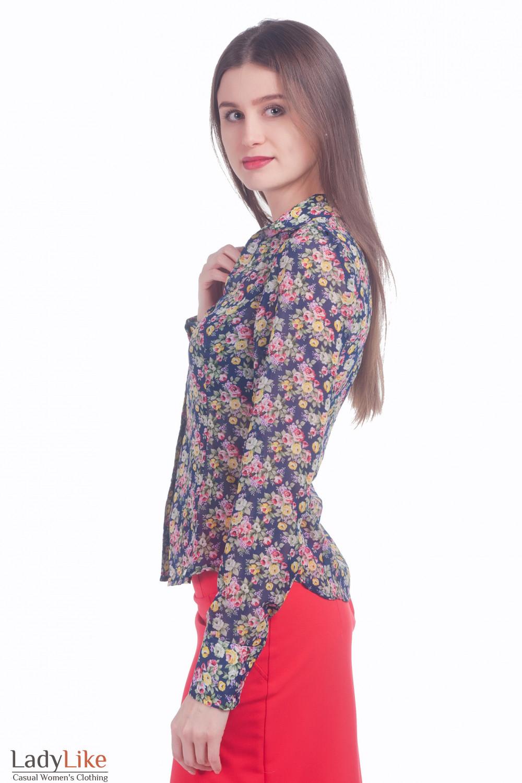 a9f9466a561 Блузка синяя в розы из шифона. Фото Блузка синяя в розы из шифона ...