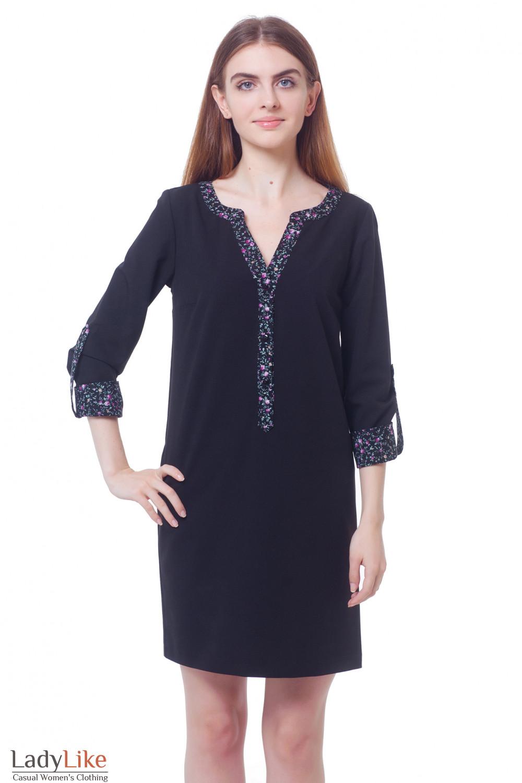 a26405a244e Платье черное с планкой в цветочек — купить в интернет-магазине ...