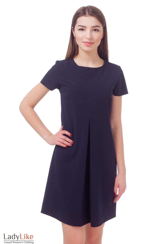 00ddb7c5ef1 Платье темно-синее со складкой и коротким рукавом Деловая женская одежда