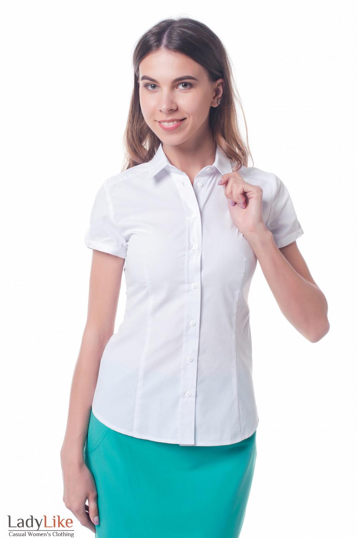c889100a7e08 Блузка-рубашка белая женская с коротким рукавом — купить в интернет ...