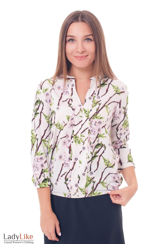 dc1cf5cd292 Классическая белая блуза в кофейные веточки — купить в интернет ...
