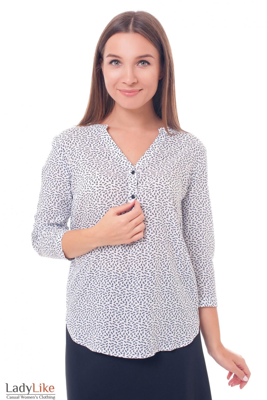 3dd2d5296b3 Блузка белая в мелкую синюю ромашку — купить в интернет-магазине ...