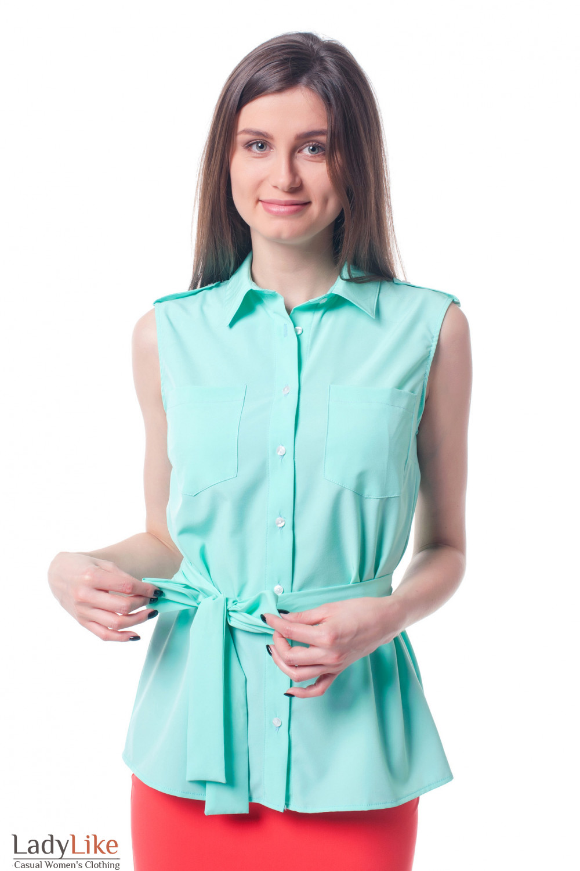 21e3e9a44c4 Блузка бирюзовая с карманами и поясом — купить в интернет-магазине ...