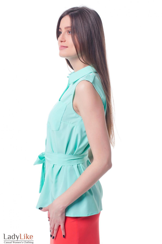 3cfe60ceb86 Блузка бирюзовая с карманами и поясом. Блузка бирюзовая с карманами ...