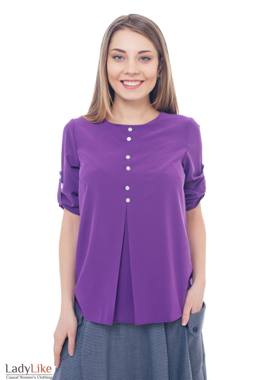 9849367ffe7 Блузка фиолетовая со встречной складкой — купить в интернет-магазине ...
