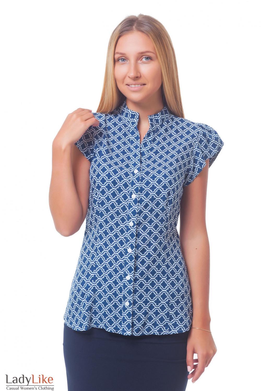 347acaa34d9 Блузка синяя в белый ромбик — купить в интернет-магазине