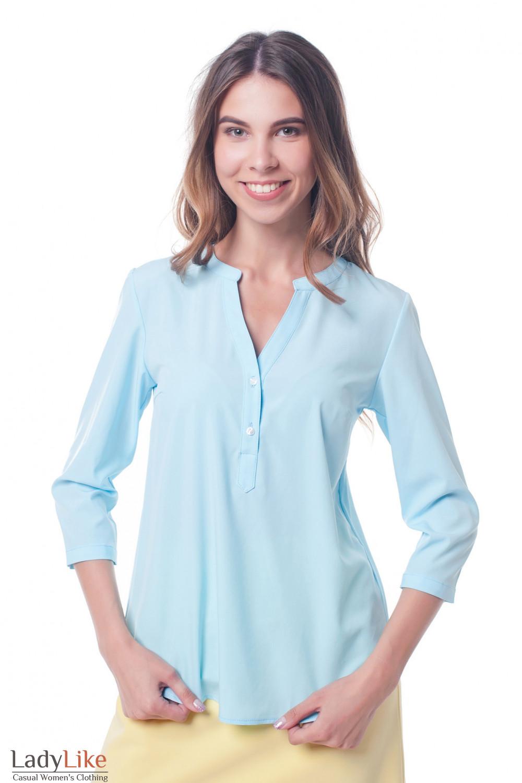 72a62adfd6b Женская блуза со стоечкой воротником светло-голубая — купить в ...