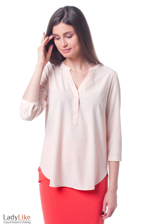 8ad3858462f Персиковая женская блуза с коротким рукавом — купить в интернет ...
