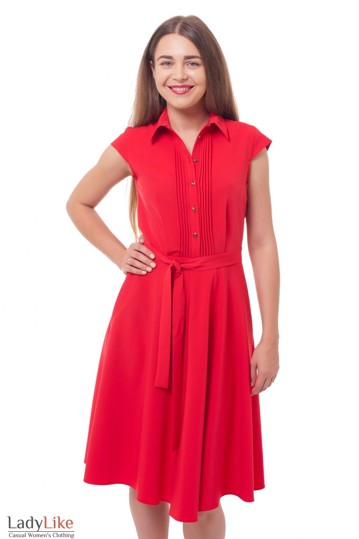 347ef251536 Платье с пышной юбкой и защипами красное — купить в интернет ...