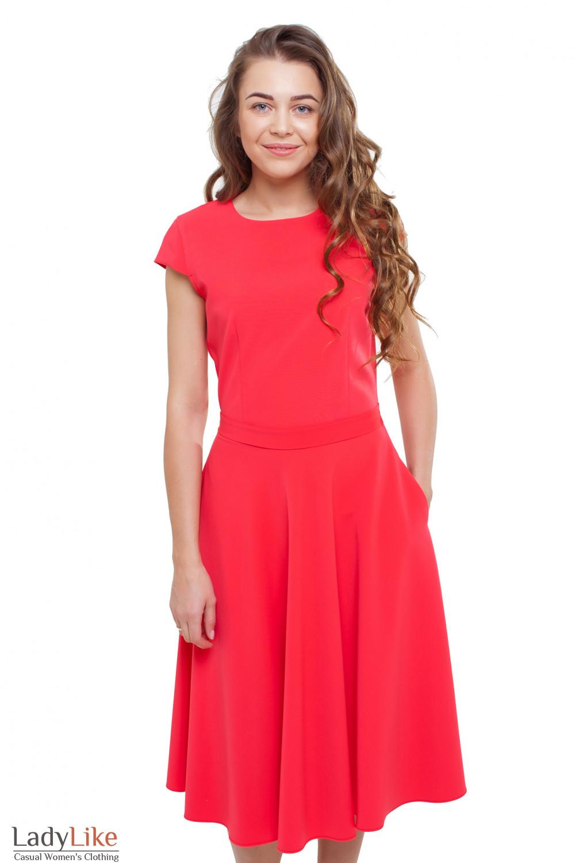 199fbc19704 Платье пышное с коротким рукавом красное — купить в интернет ...