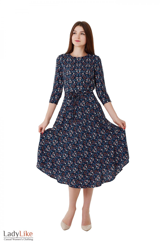 e5f978f5fd48dd6 Платье синее в цветок из зимнего штапеля. Деловая женская одежда фото
