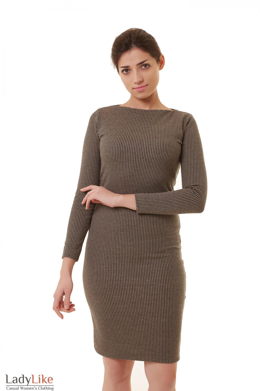 3e289b20ece Платье трикотажное в мелкую бежевую лапку Деловая женская одежда фото