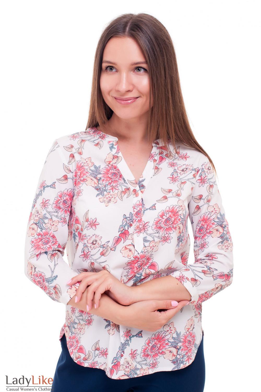 064423f4c1a Блузка белая в коралловые розы — купить в интернет-магазине ...