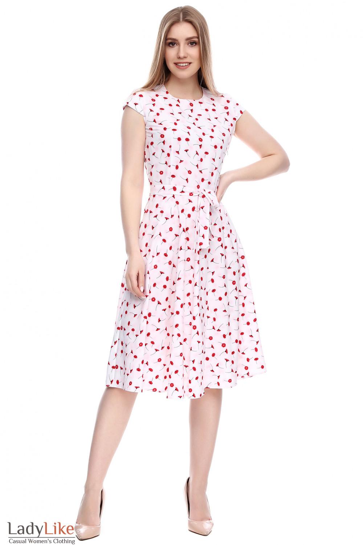 56a15c3a555 Платье белое в красные маки — купить в интернет-магазине