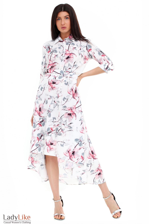 7a875f464074227 Платье белое в розовые лилии — купить в интернет-магазине | Артикул ...