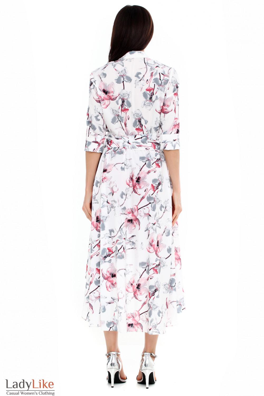d0bbd8e691ff631 Платье белое в розовые лилии. Артикул: 161818404. Платье белое в розовые  лилии ...