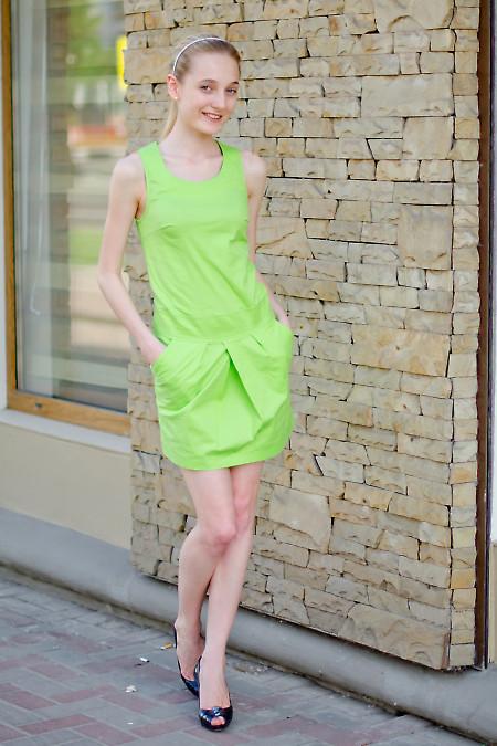 Платье салатовое с карманами Деловая женская одежда
