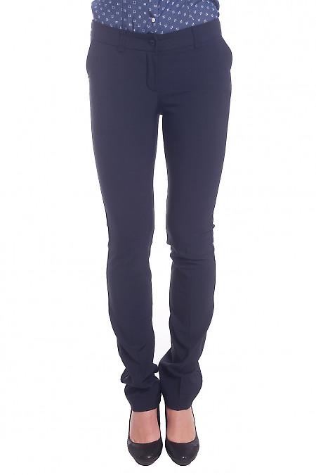 Брюки синие длиной 7/8 теплые Деловая женская одежда