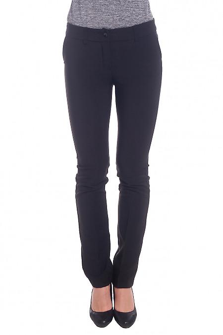 Брюки черные длиной 7/8 теплые Деловая женская одежда