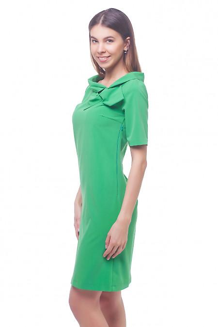 Купить платье зеленое с бантом на воротнике Деловая женская одежда