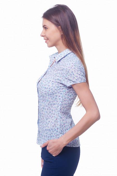 Купить блузку сиреневую в фиолетовый цветок Деловая женская одежда
