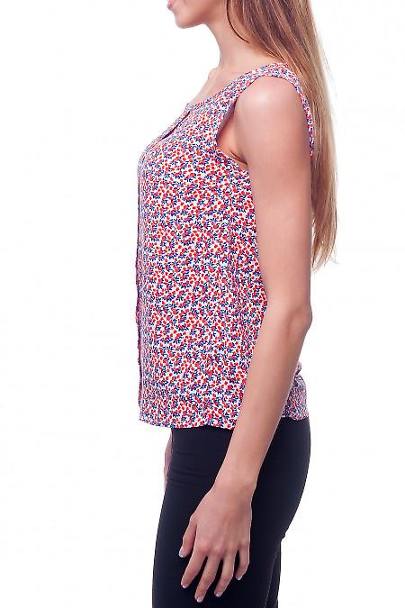Купить яркий топ в оранжево-синий цветок Деловая женская одежда фото