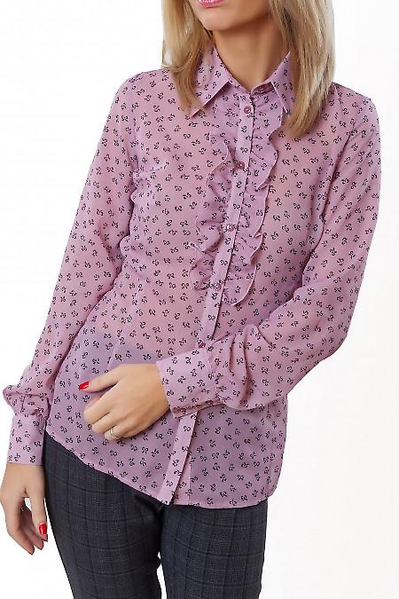 Купить блузку розовую в бантики с рюшей Деловая женская одежда