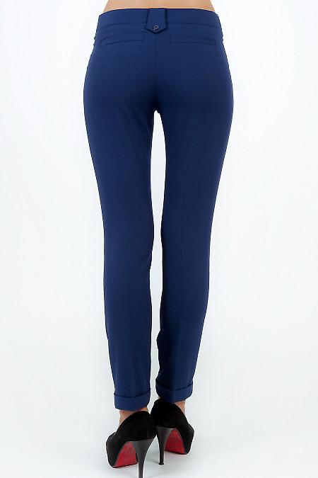 Фото Брюки синие с манжетой вид сзади Деловая женская одежда