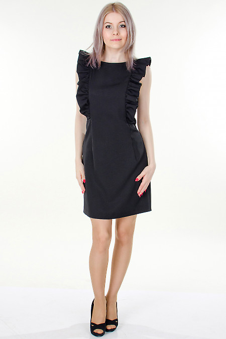 Фото Платье черное с рюшами Деловая женская одежда