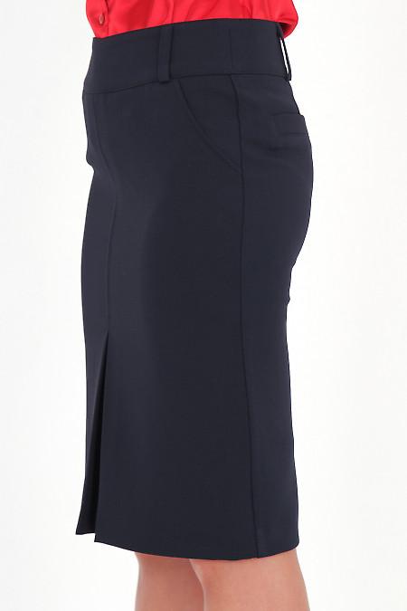 Фото Юбка с бантовой складкой темно-синяя вид сбоку Деловая женская одежда