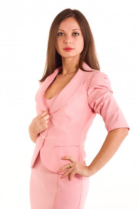 Фото Жакет розовый с круглым вырезом Деловая женская одежда