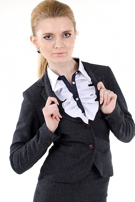Фото Жакет серый в клетку Деловая женская одежда