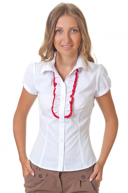 Блузка белая с красным рюшем Деловая женская одежда