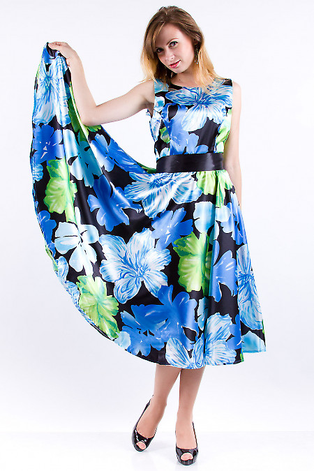 Фото Платье атласное в синие цветы Деловая женская одежда