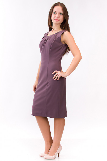 Фото Платье сиреневое с защипами у горловины Деловая женская одежда